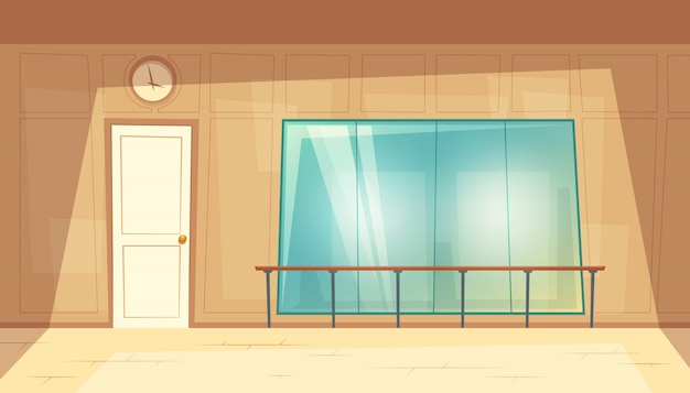 Free Vector Cartoon Illustration Of Empty Dance Hall With Mirrors And Wooden Floor
