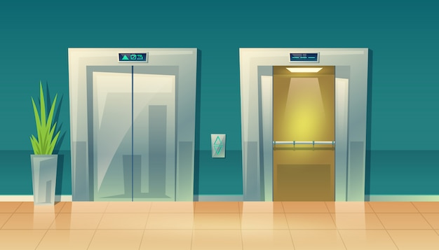 Cartoon illustration of empty hallway with elevators - closed doors and open. Free Vector