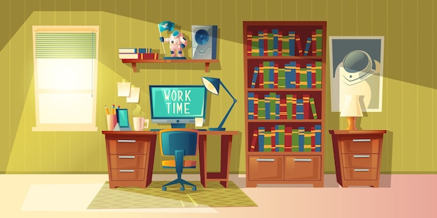 Cartoon illustration of empty home office with bookcase, modern interior with furniture. Free Vector