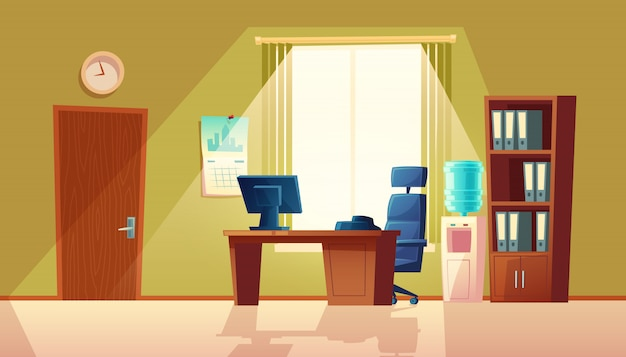 Cartoon illustration of empty office with window, modern interior with furniture. Free Vector