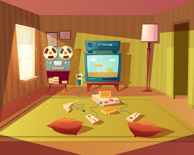 Cartoon illustration of empty playroom for children with game 8-bit console Free Vector