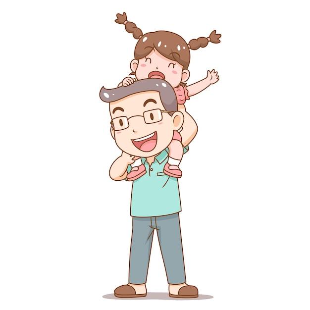 Illustrazione del fumetto del padre di giorno di padri che porta la figlia sulle sue spalle Vettore gratuito