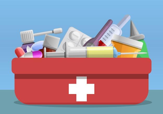 Cartoon illustration of flu first aid kit Vector | Premium