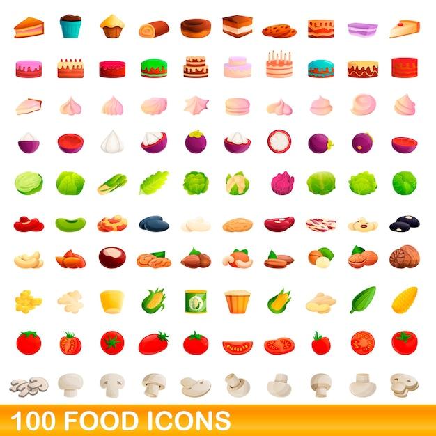 Cartoon illustration of food icons set isolated on white Premium Vector