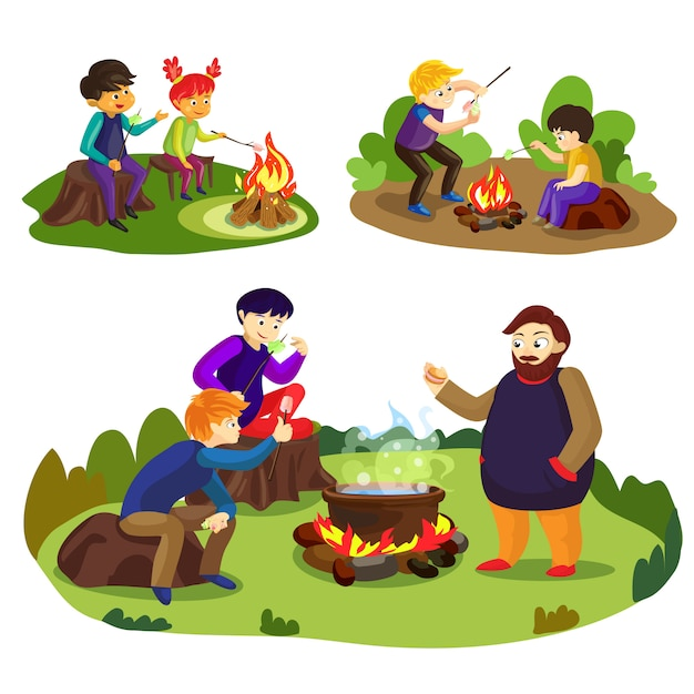 Cartoon illustration of friends and marshmallow Premium Vector
