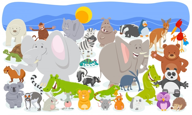 Cartoon illustration of funny animal huge group Premium Vector