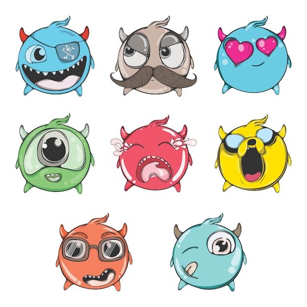 Cartoon illustration of funny emoji set. Premium Vector