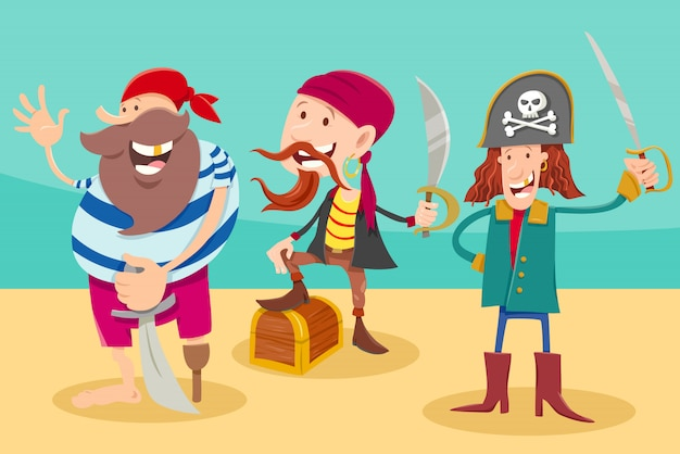 Cartoon illustration of funny pirates fantasy characters Premium Vector