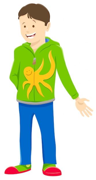 Cartoon illustration of funny teen or kid boy character Premium Vector