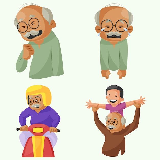 Cartoon illustration of grandfather character set Premium Vector