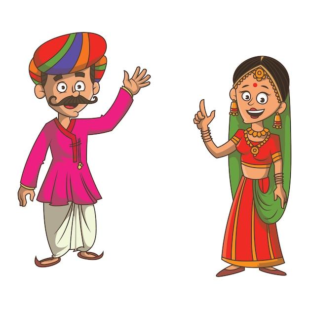 Cartoon illustration of gujarati couple. Premium Vector