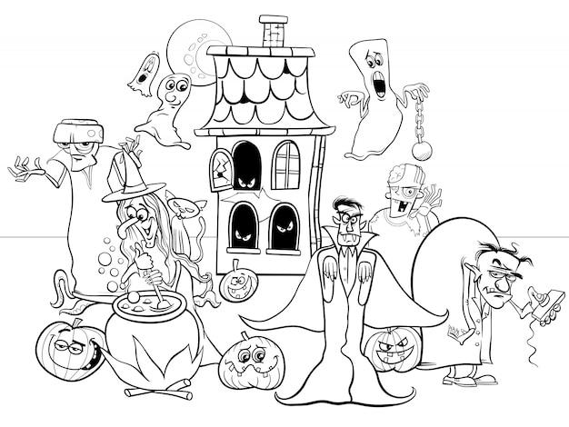 Cartoon illustration of halloween funny characters coloring book Premium Vector