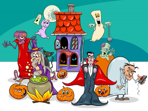 Cartoon illustration of halloween holiday funny characters Premium Vector