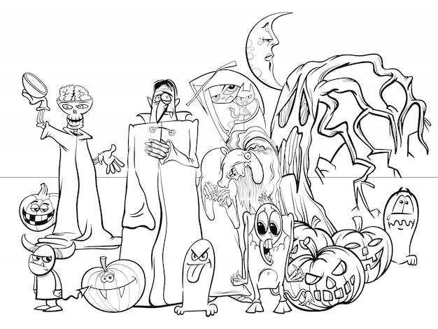 Cartoon illustration of halloween holiday scary characters coloring book Premium Vector