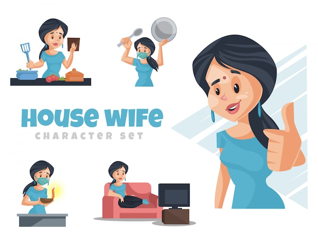 Premium Vector Cartoon Illustration Of House Wife Character Set