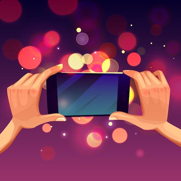 Cartoon illustration of human hand holding smartphone. Free Vector