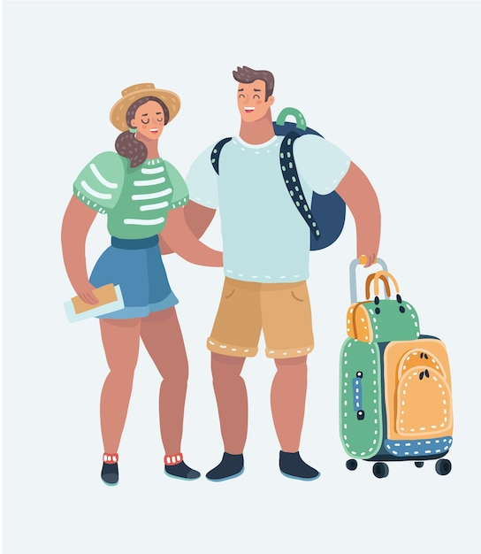 Cartoon illustration of inspired young loving couple Premium Vector