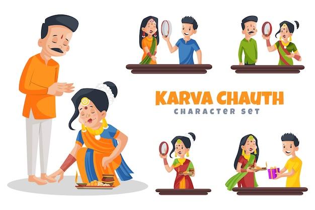 Cartoon illustration of karva chauth character set Premium Vector