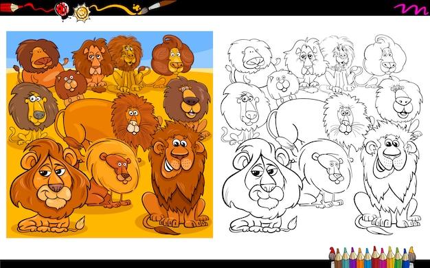 Cartoon illustration of lions characters color book Premium Vector