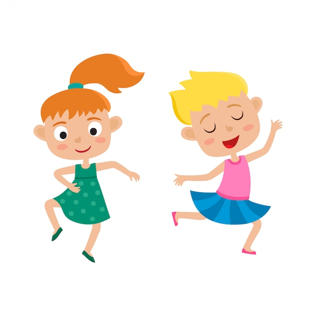 Cartoon Illustration Of Little Graceful Girls Dancer Isolated On White Set Of Two Little Happy Kids Dancing And Smiling Pretty Dance Premium Vector