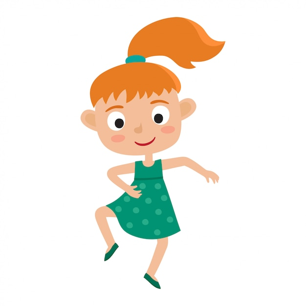 Cartoon illustration of little redhaired girl-dancer isolated on white. little happy girl with pony tail dancing and smiling. pretty dance. Premium Vector