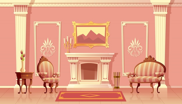 Cartoon illustration of luxury living room with fireplace, ballroom or hallway with pilasters Free Vector