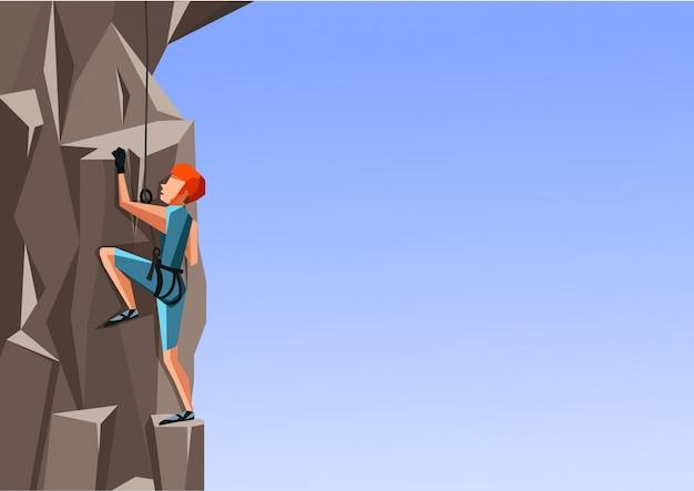 Cartoon illustration of a man climbing the rock on blue background. Premium Vector
