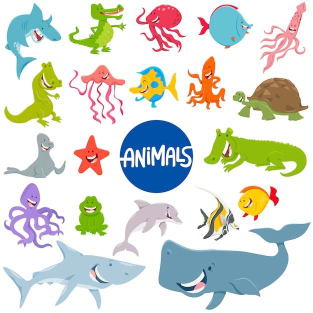 Cartoon illustration of marine animal characters set Premium Vector