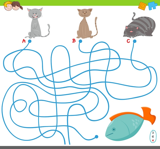 Cartoon illustration of maze puzzle game with cats Premium Vector