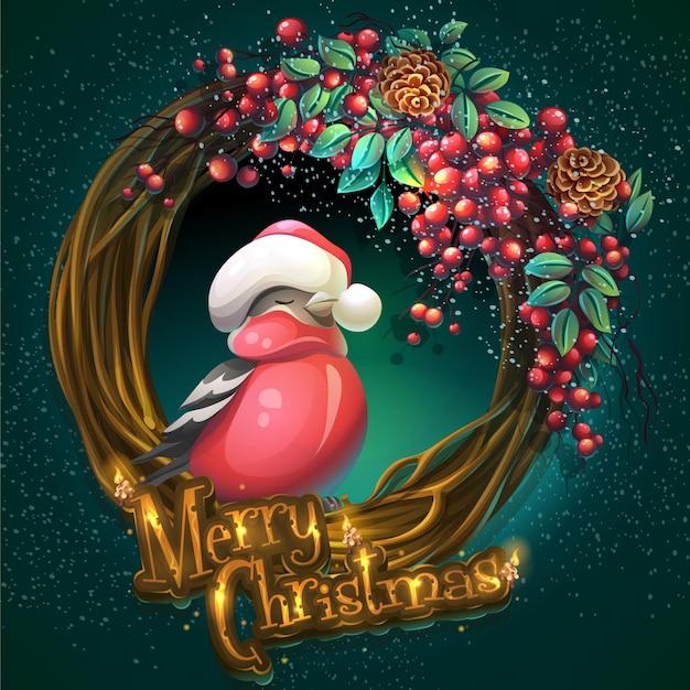 漫画イラストアッシュベリーとウソと緑の背景にブドウの木と葉のメリークリスマスリース Premiumベクター
