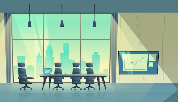 Cartoon illustration of modern conference hall, room for meetings and business trainings Free Vector
