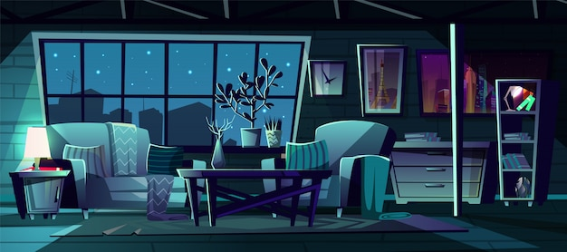 Cartoon Illustration Of Modern Living Room At Night Vector