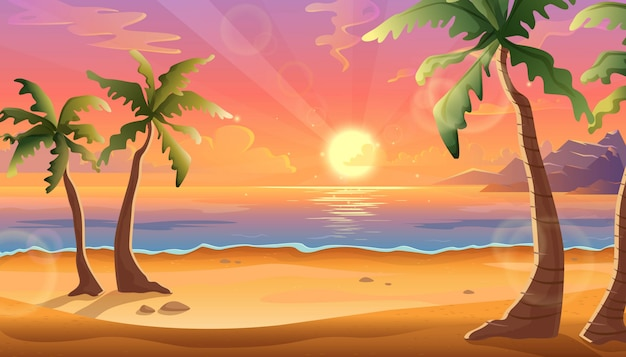 Cartoon illustration of ocean landscape in sunset or sunrise with beautiful pink sky and sun reflection over the water. beautiful nature with palm trees and beach. Premium Vector