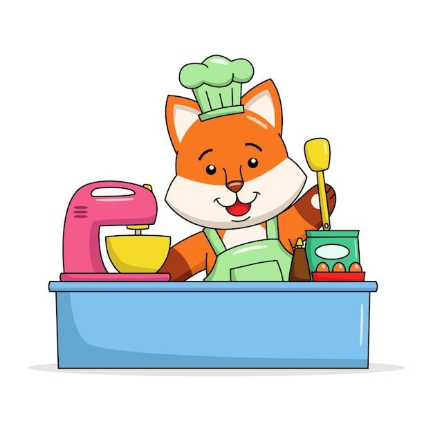 Карикатура иллюстрации милая лиса делает торт Premium векторы