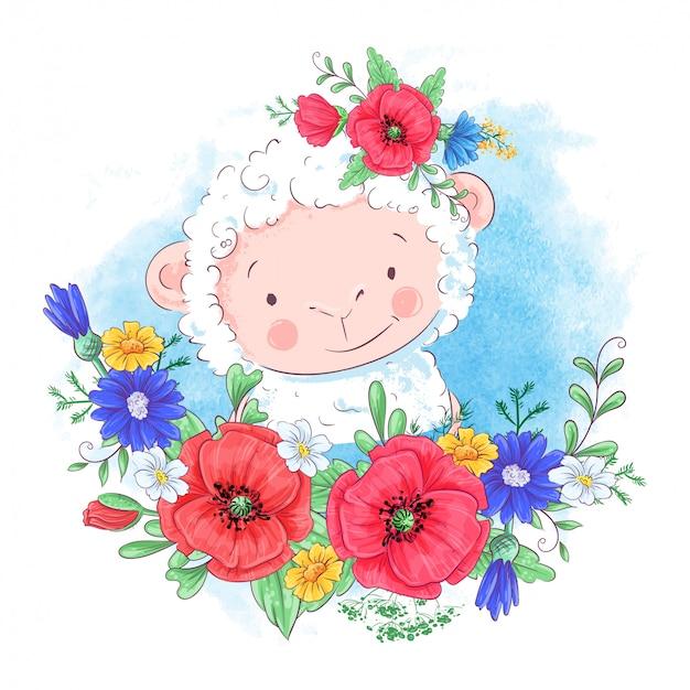 Иллюстрация шаржа милой овцы в венке красных цветков Premium векторы