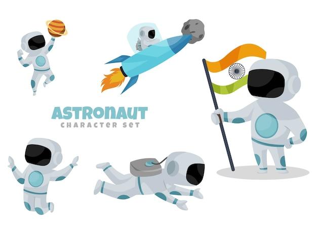 宇宙飛行士の文字セットの漫画イラスト Premiumベクター
