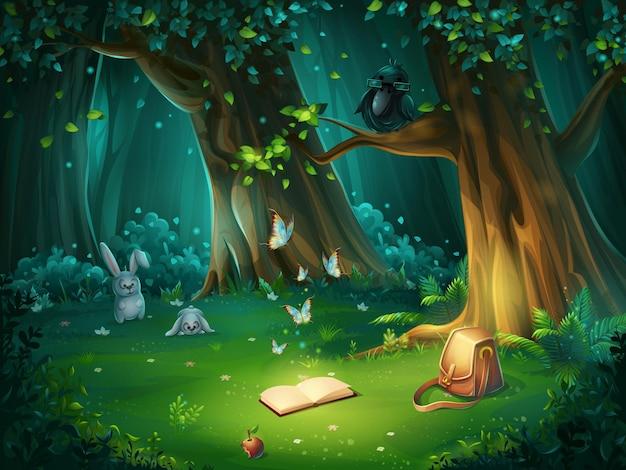 배경 숲 숲 사이의 빈 터의 만화 그림입니다. 토끼, 나비 및 안경, 책, 사과, 여행 가방에 올빼미가있는 밝은 나무. 프리미엄 벡터
