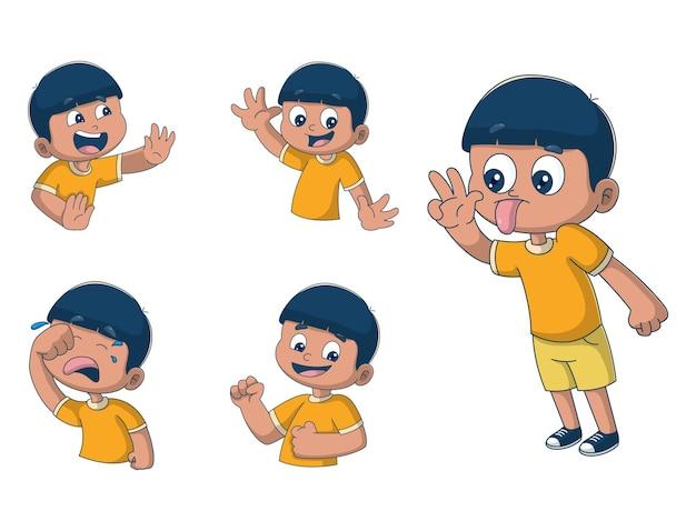 少年ステッカーセットの漫画イラスト Premiumベクター