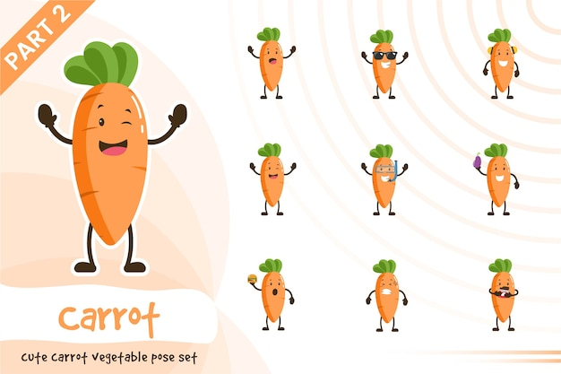 Иллюстрации шаржа овощной набор моркови Premium векторы