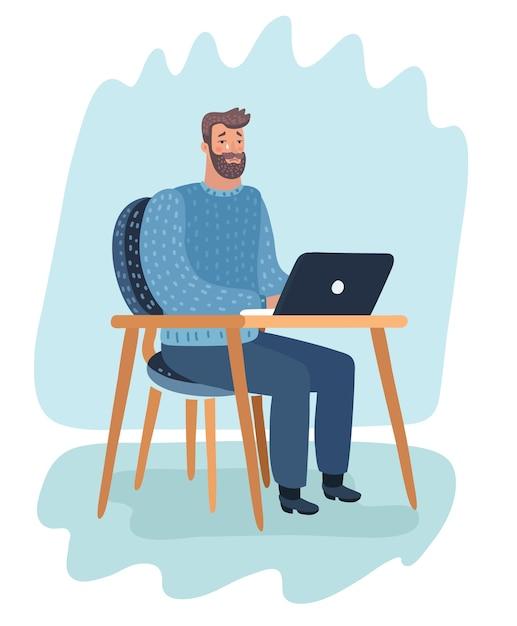 漫画のキャラクターの漫画イラスト。ひげを生やしたヒップスターが部屋に座って、ラップトップで作業して泣きます。 Premiumベクター