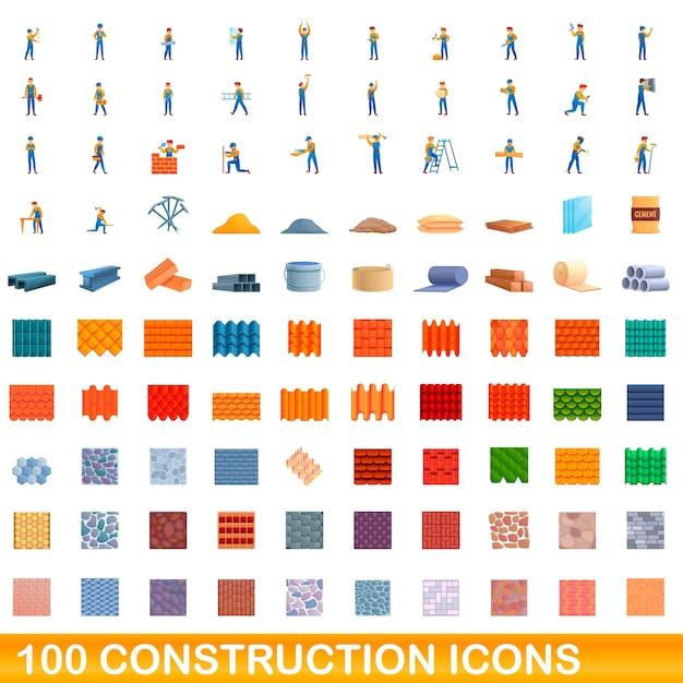 Карикатура иллюстрации набора строительных иконок, изолированные на белом Premium векторы