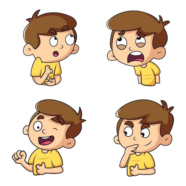かわいい男の子のステッカーセットの漫画イラスト Premiumベクター