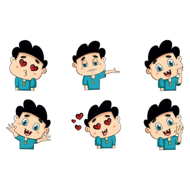 かわいい男の子のステッカーの漫画イラスト Premiumベクター