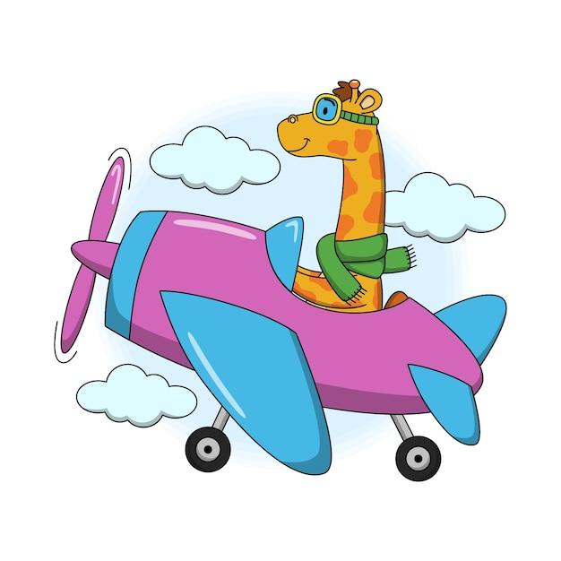 Карикатура иллюстрации милый жираф, летящий в самолете Premium векторы