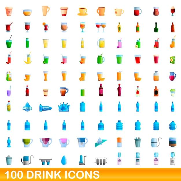 Иллюстрации шаржа набор иконок напиток, изолированные на белом Premium векторы