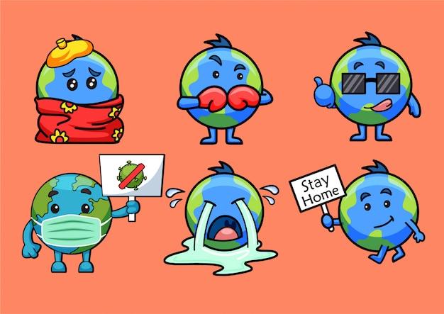 地球のステッカーの漫画イラスト Premiumベクター