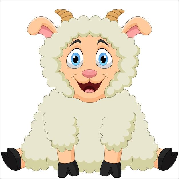 Иллюстрации шаржа смешных овец Premium векторы