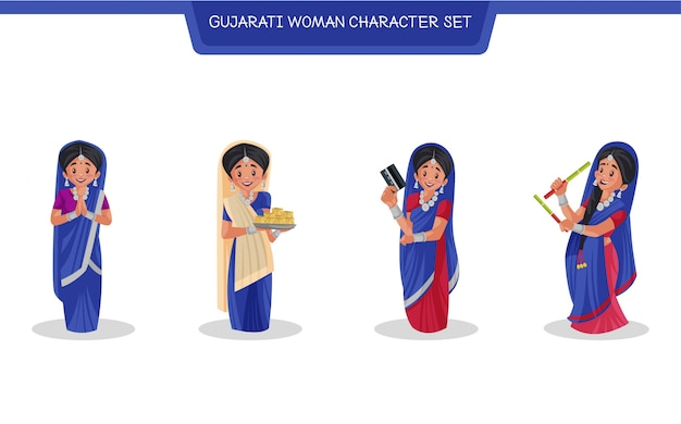 グジャラート語の女性キャラクターセットの漫画イラスト Premiumベクター