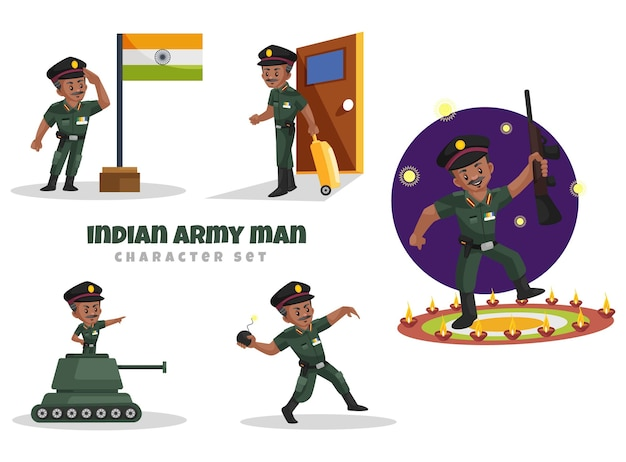 Иллюстрации шаржа индийской армии человек набор символов Premium векторы