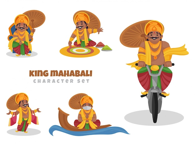 Иллюстрации шаржа набор символов короля махабали Premium векторы